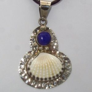 Jewelry - Sterling Shell Pendant with Purple Stone